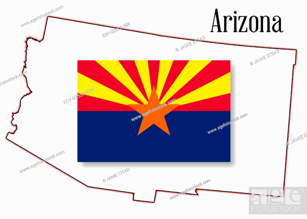 Imagen: Outline map of the state of Arizona on a white background with flag inset.