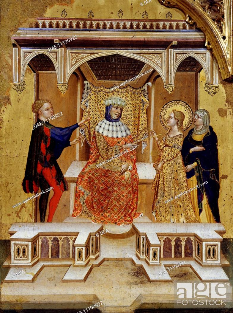 Stock Photo: Lucy denounced by her boyfriend, in front of the Judge Pascasio, detail from a section of the altarpiece with scenes from the life of Saint Lucy, ca 1410.
