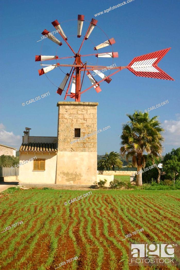 Stock Photo: Windmill in Palma de Mallorca. Majorca, Balearic Islands, Spain.