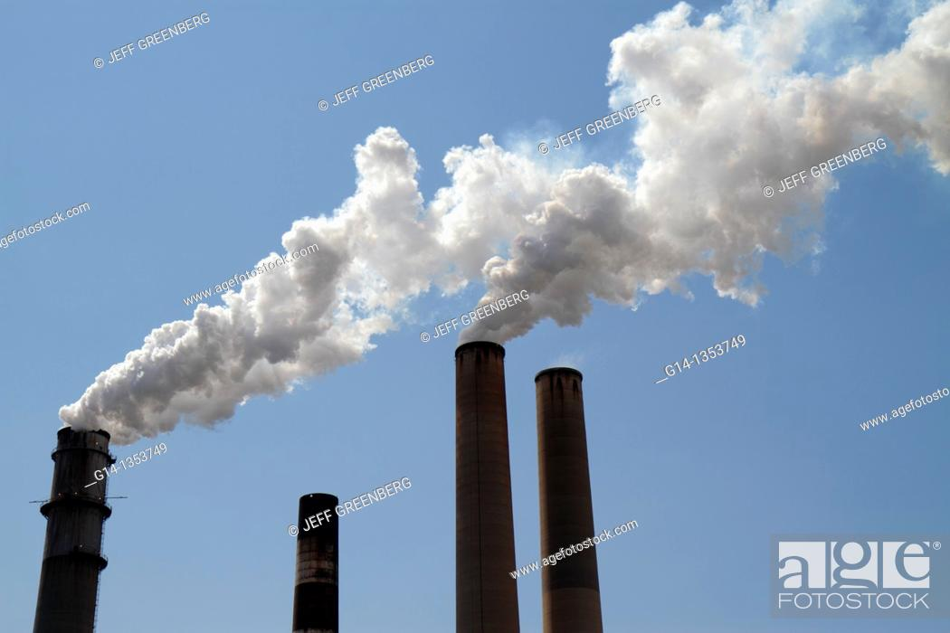 Stock Photo: Florida, Tampa, Tampa Electric Co, TECO, smokestacks, pollution,.