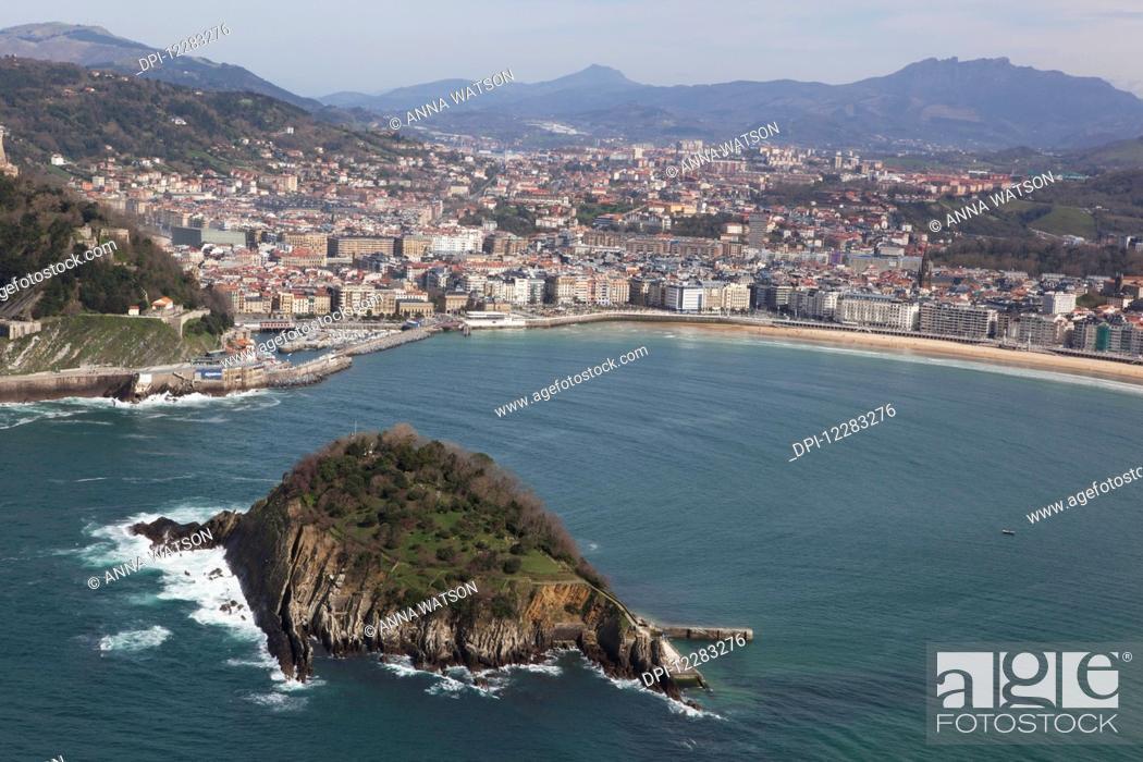 Stock Photo: Bay of La Concha beach and the Island of Santa Clara; San Sebastian, Spain.