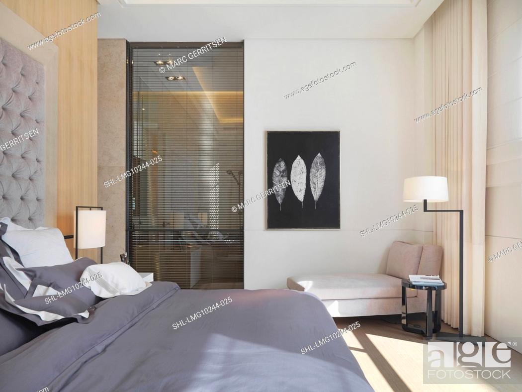 Stock Photo Lavender Bed In Modern Bedroom