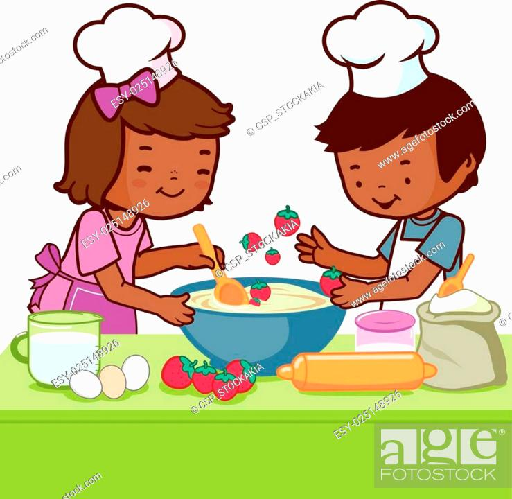 Stock Vector: African Children cooking in the kit.