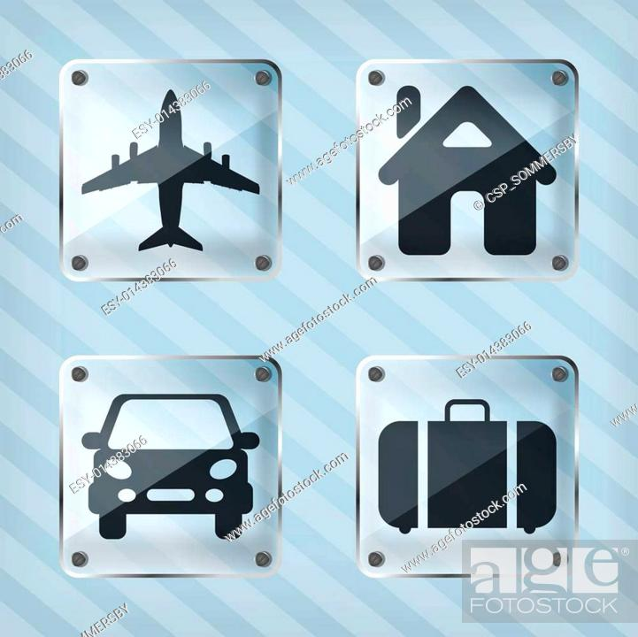 Set Of Transparency Travel Pointer Icons On A Striped Background