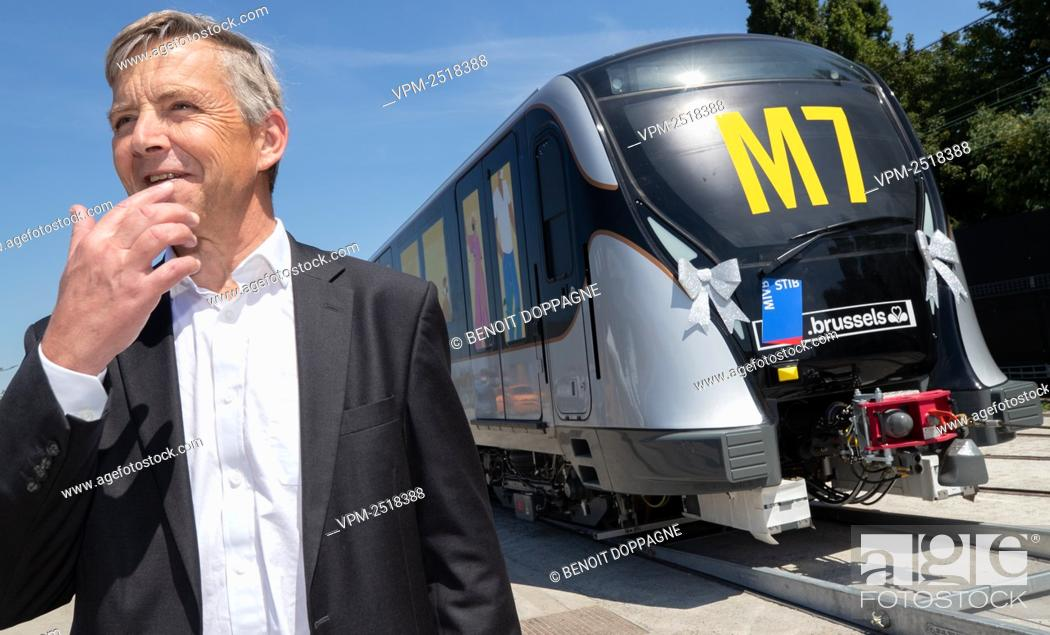 Stock Photo: MIVB-STIB CEO Brieuc de Meeus pictured during a press conference of Brussels public transport company STIB - MIVB to present the new metro train M7.