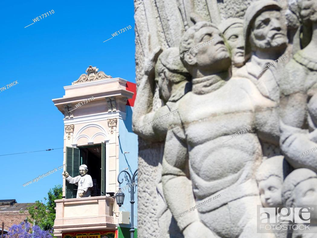 Stock Photo: La Boca, this quarter is one of the main attraction of Buenos Aires, the capital of Argentina. Figure of Pope Franziskus near street Caminito South America.