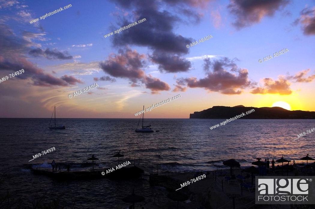 Stock Photo: Sunset, Costa de la Calma, Majorca. Balearic Islands, Spain.
