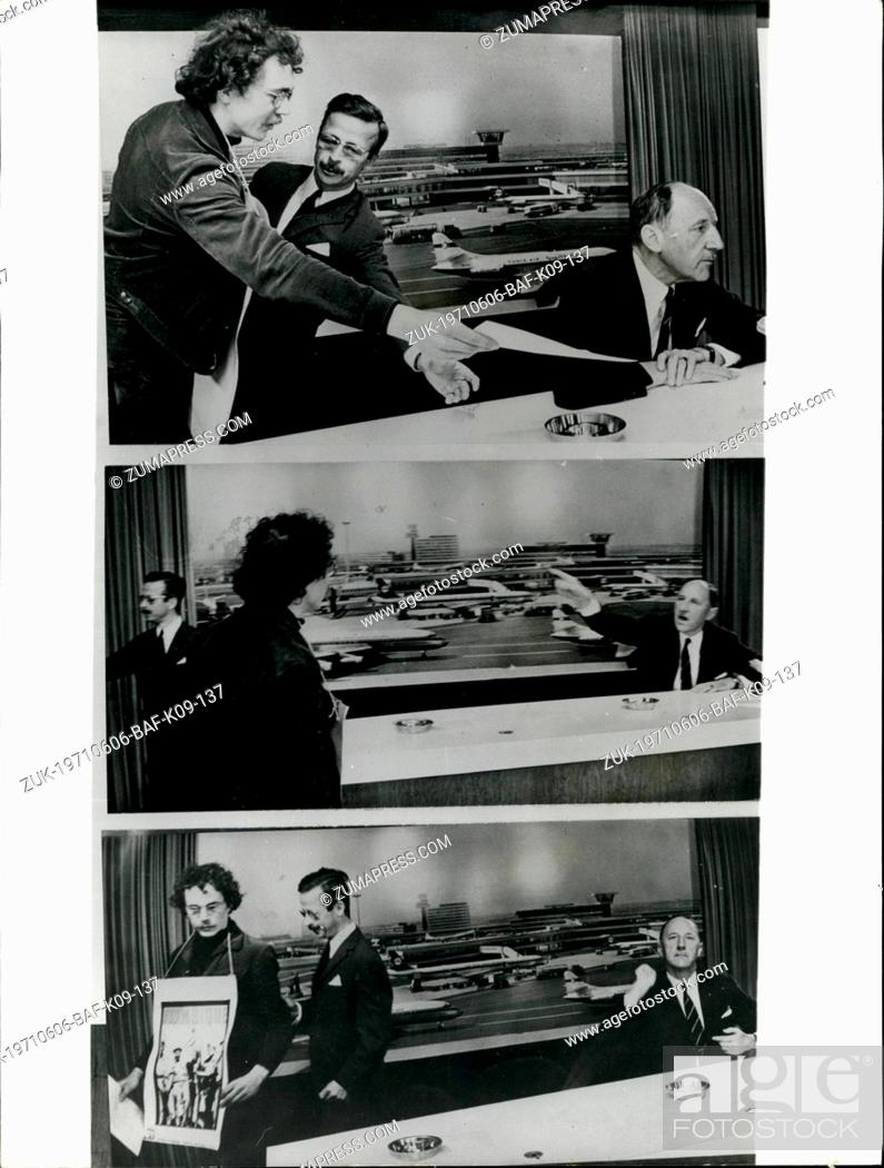 Imagen: Jun. 06, 1971 - Demonstrator Angers Mr. Luns. During a press conference he gave on arrival at Schipol Airport, Amsterdam from New York yesterday, Mr.