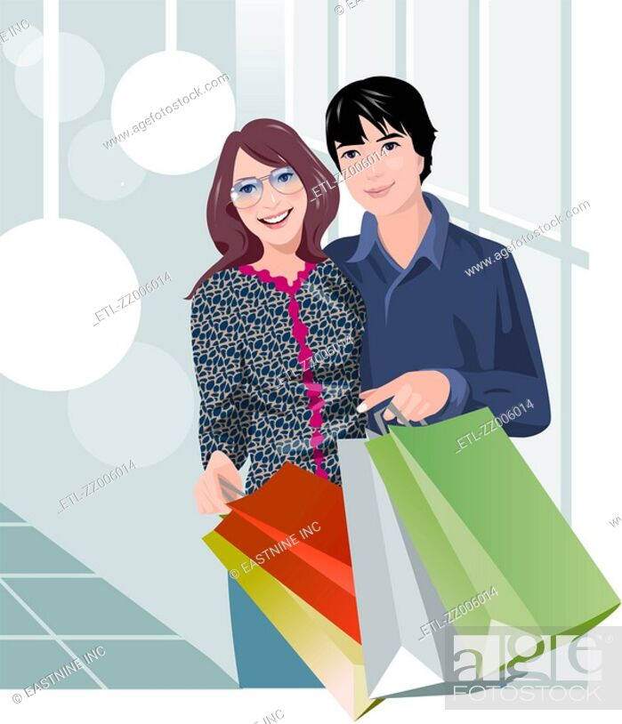 Stock Photo: Couple holding shopping bags and smiling.