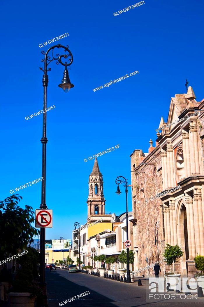 Stock Photo: Buildings along a street, Venustiano Carranza Street, Aguascalientes, Mexico.