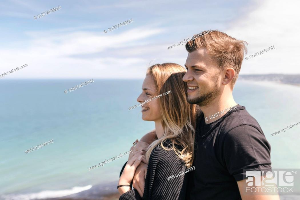 Stock Photo: Young couple looking at view.