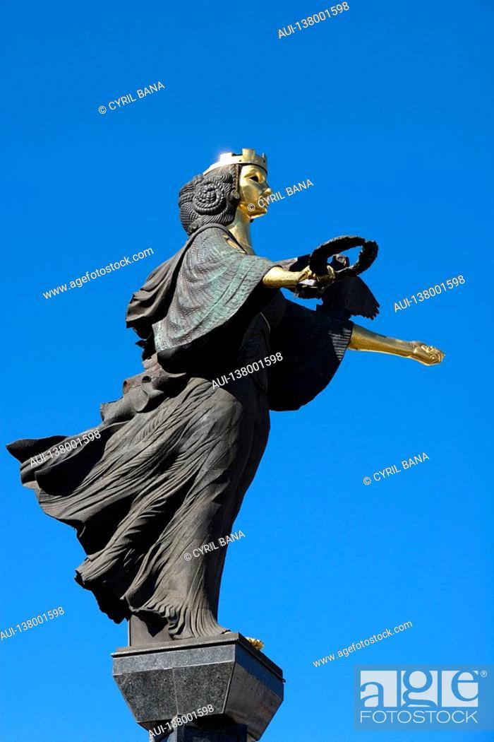 Stock Photo: Bulgaria - Sofia - Capital City - Sveta Nedelya Square. - Saint Sofia statue Samardjiïska.