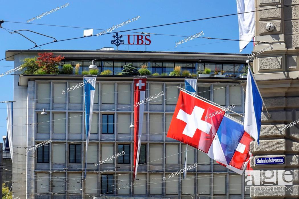 Stock Photo Switzerland Zurich Paradeplatz Ubs Bank Logo