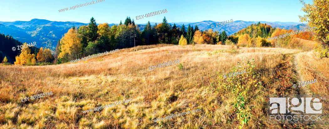 Stock Photo: Autumn mountain Nimchich pass (Carpathian, Ukraine).
