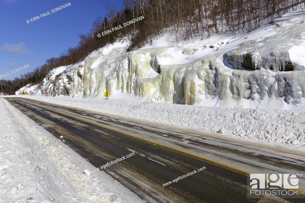 Stock Photo: Route 112 in Kinsman Notch in North Woodstock, New Hampshire USA during the winter months.