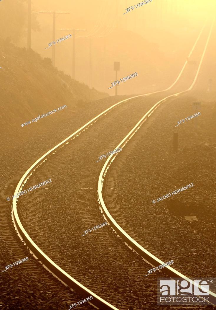 Stock Photo: Railroad, Sierra de San Pedro, Cáceres province, Extremadura, Spain.