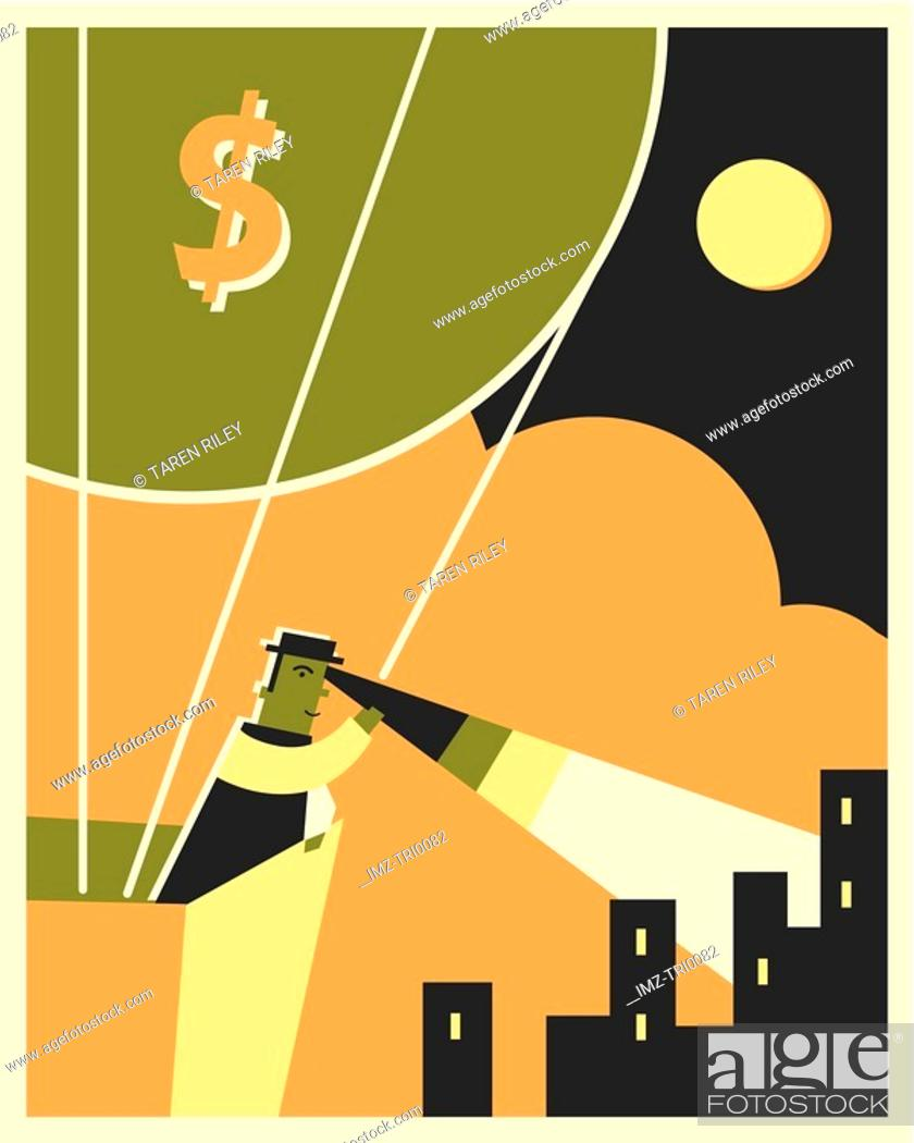 Stock Photo: A man in money balloon looking down with a telescope.