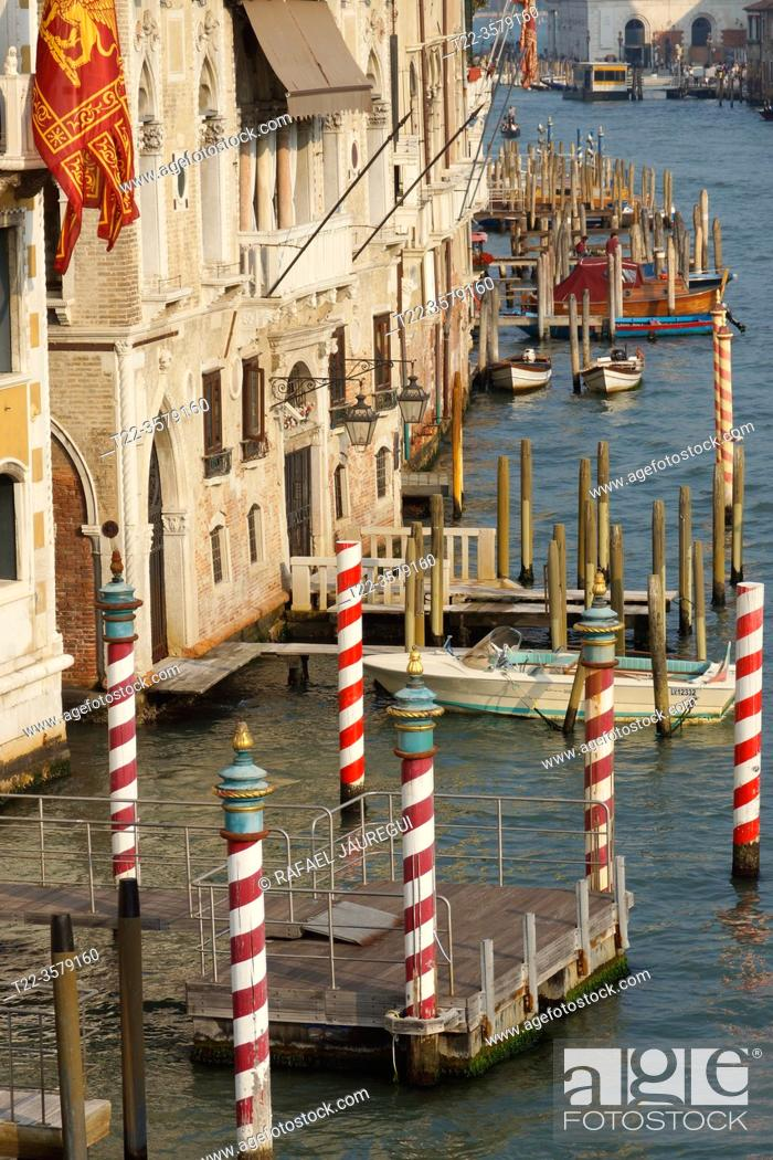 Stock Photo: Venice (Italy). Docking point on the Grand Canal in the city of Venice.