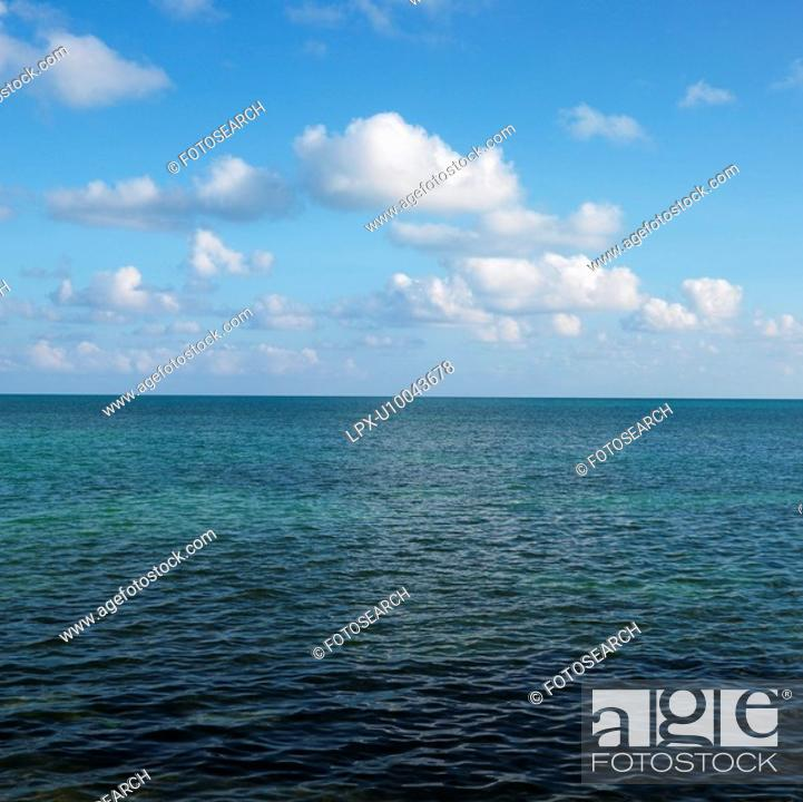 Stock Photo: Calm water and blue sky with white puffy clouds in Florida Keys, Florida, USA.