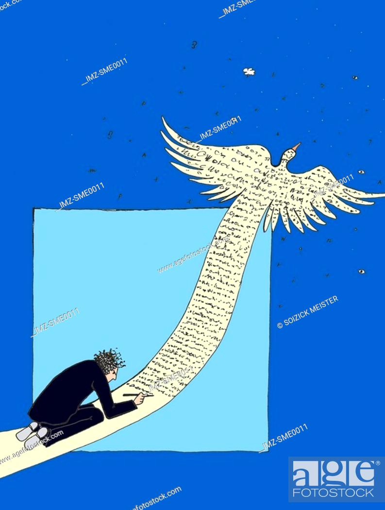 Stock Photo: A man writing on a large bird taking flight.