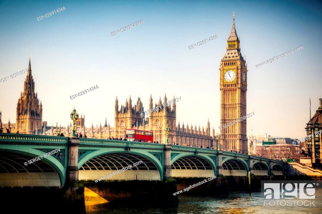 Stock Photo: Big Ben and westminster bridge in London.