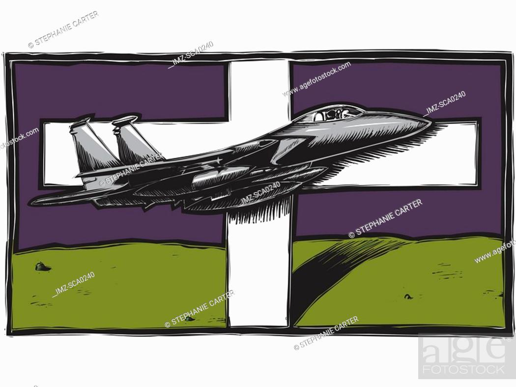 Stock Photo: Fighter plane flying in front of large white cross.
