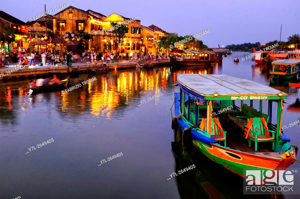 Stock Photo: Hoi An riverfront, Hoi An, Vietnam.
