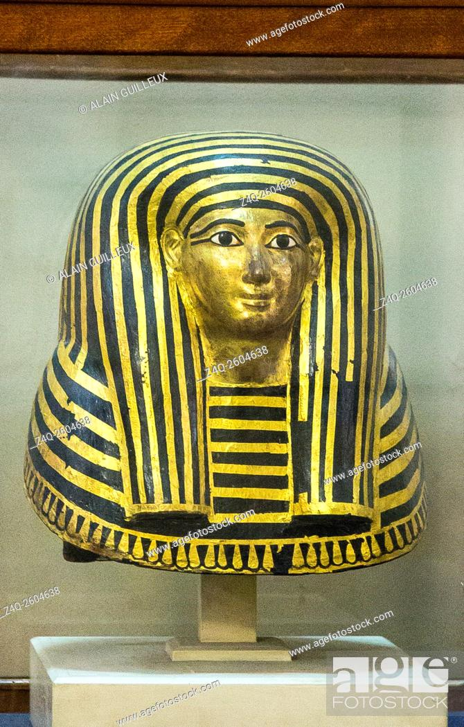 Stock Photo: Egypt, Cairo, Egyptian Museum, from the tomb of Maiherpri, Valley of the Kings, Luxor : Cartonnage mask of the mummy of Maiherpri.