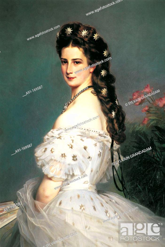 Stock Photo: Sissi portrait, by F.X. Winterhalter. Vienna. Austria.