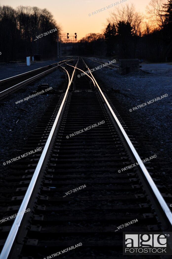 Stock Photo: Converging Railroad Lines-Enon Valley, PA, USA.