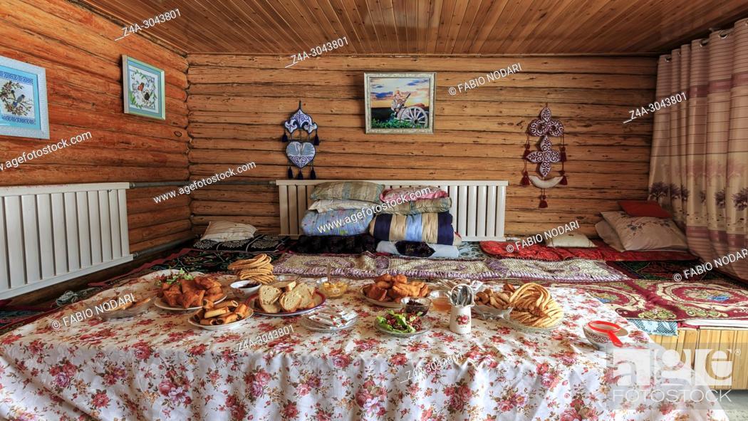 Stock Photo: Interior of a Hasake house, one of the 56 ethnic minorities in China.