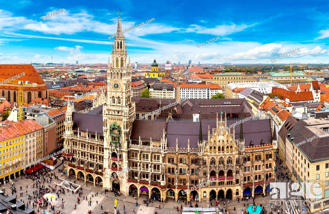 Stock Photo: Aerial view on Marienplatz town hall in Munich, Germany.