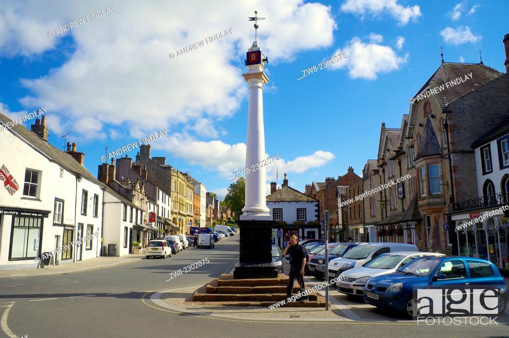 Stock Photo: The High Cross Boroughgate. Appleby-in-Westmorland, Cumbria, England, United Kingdom.