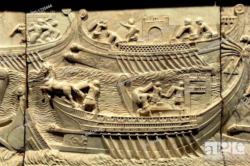 Stock Photo: Naval battle of Actium-detail, 1st century, Duques de Cardona Collection, Cordoba, Spain,.