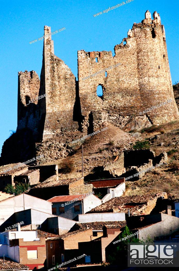 Stock Photo: Castle, village near Jalón river. Zaragoza province, Spain.