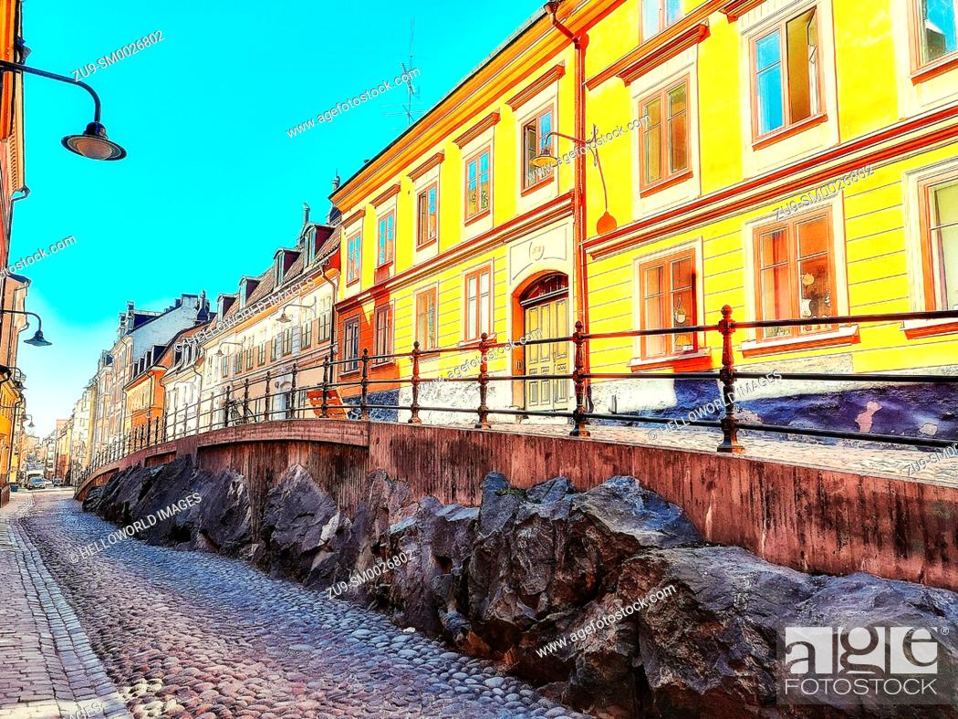 Stock Photo: Brannkyrkagatan, Södermalm, Stockholm, Sweden, Scandinavia. The hump known as an Apparel is an elevation of part of the street.
