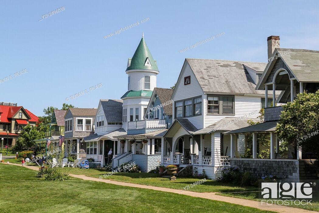 Stock Photo: Homes in Ocean Park, Oak Bluffs, Martha's Vineyard, Massachusetts, United States.