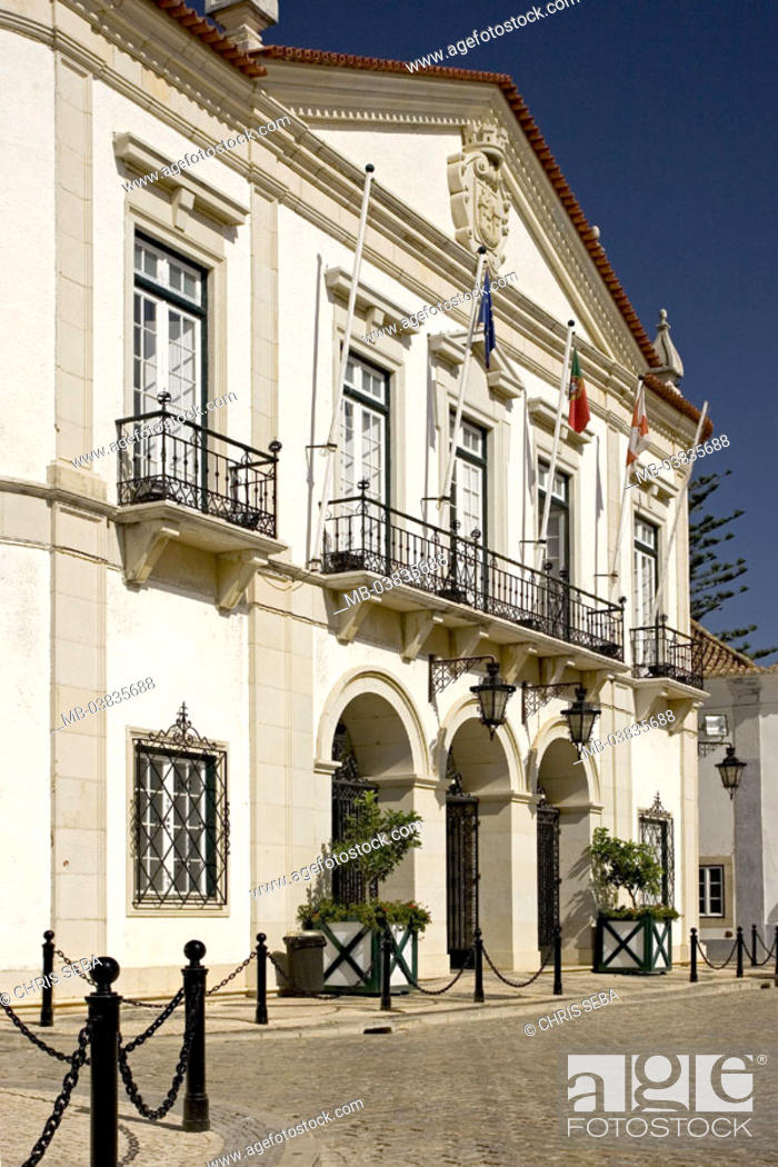Stock Photo: Portugal, Algarve, Faro, old town,  Largo there Se, town hall, Eingangsbereich,   Buildings, construction, town hall buildings, architecture, culture, sight.