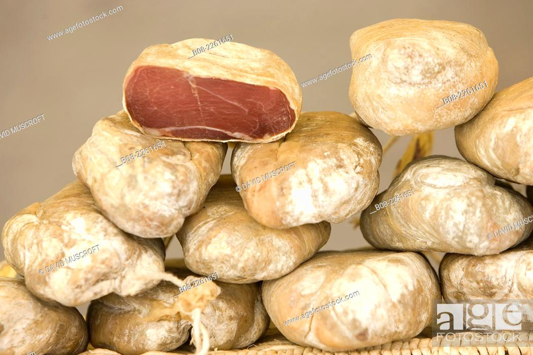 Stock Photo: french bread on a market stall, Languedoc, southern France.