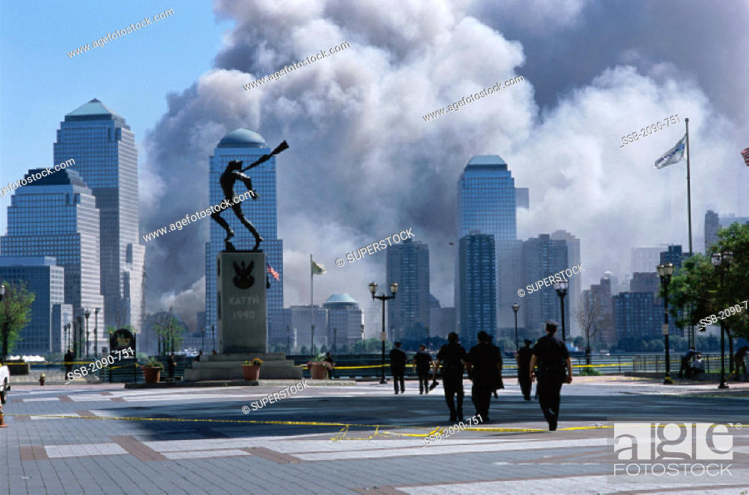 Stock Photo: World Trade Center Attack Aftermath September 11, 2001 Jersey City New Jersey USA.