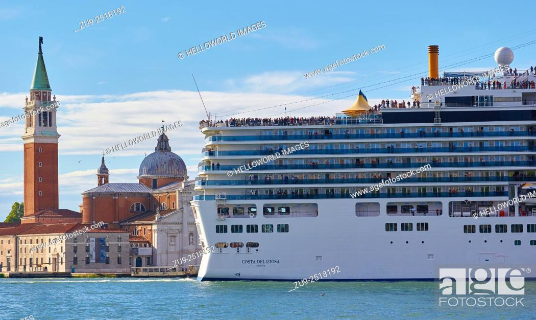 Stock Photo: Giant cruise liner passing Basilica di San Giorgio Maggiore, Venice, Veneto, Italy, Europe.