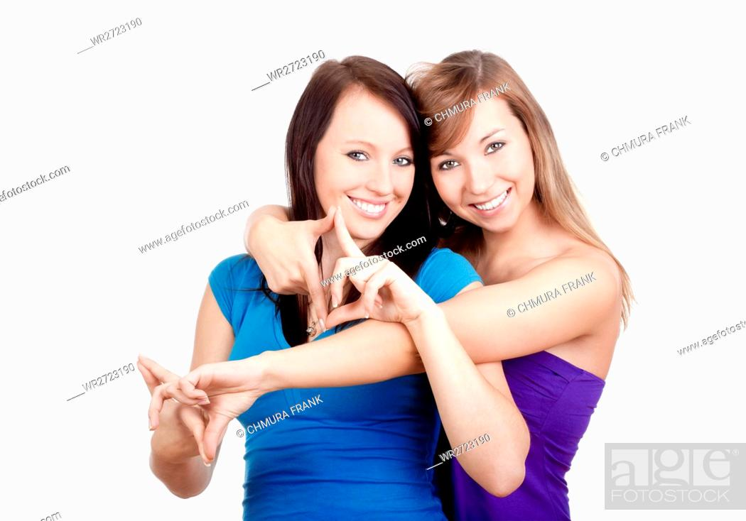 Stock Photo: 2, adult, affection, attractive, beautiful, beauty, Caucasian, cheerful, female, friends, friendship, fun, gesture, girl, happy, isolated, lifestyle, looking.