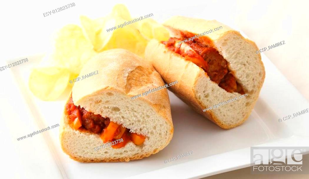 Stock Photo: Sausage and Peppers Sandwich.