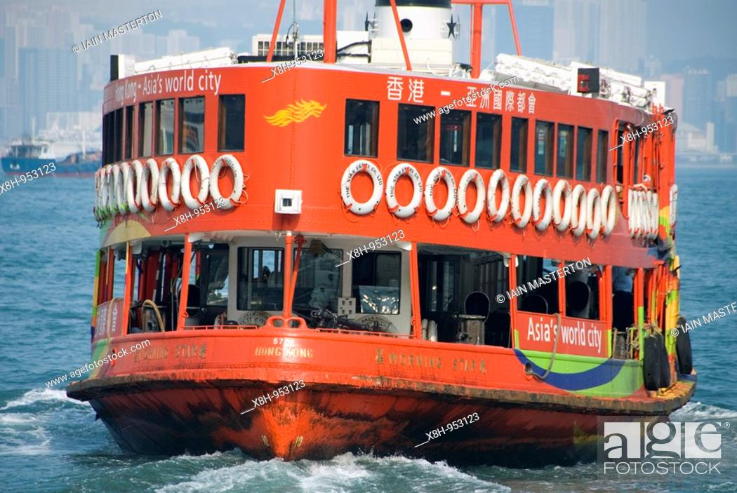 Stock Photo: Detail of Star Ferry painted red in Victoria Harbour in Hong Kong.