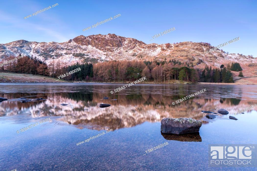 Stock Photo: The Blake Rigg in winter from the Blea Tarn, Lake District National Park, Cumbria, England, United Kingdom, Europe.
