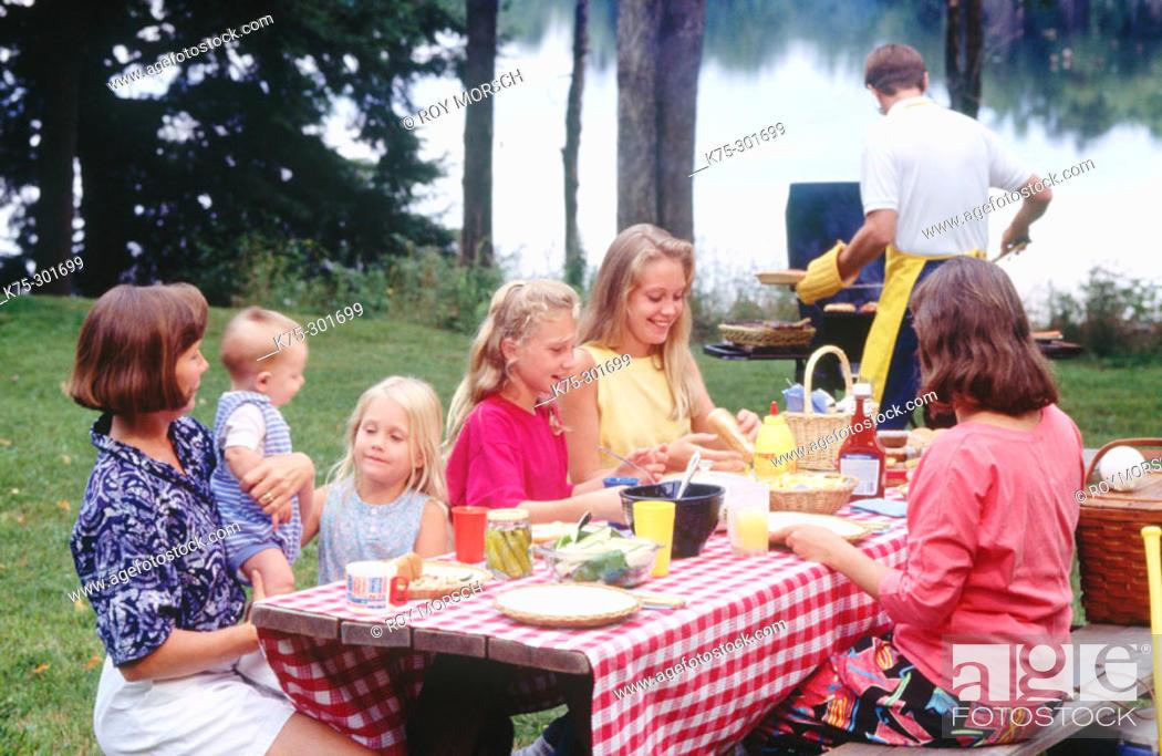 Stock Photo: family barbecue.