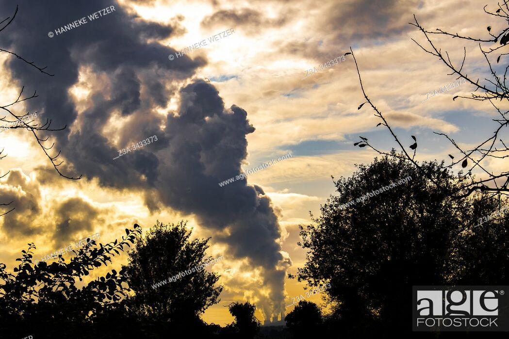 Stock Photo: Colorful horizon with smoke of the Kraftwerk power plants of RWE Power, Ruhr area, North Rhine-Westphalia, Germany, Europe.
