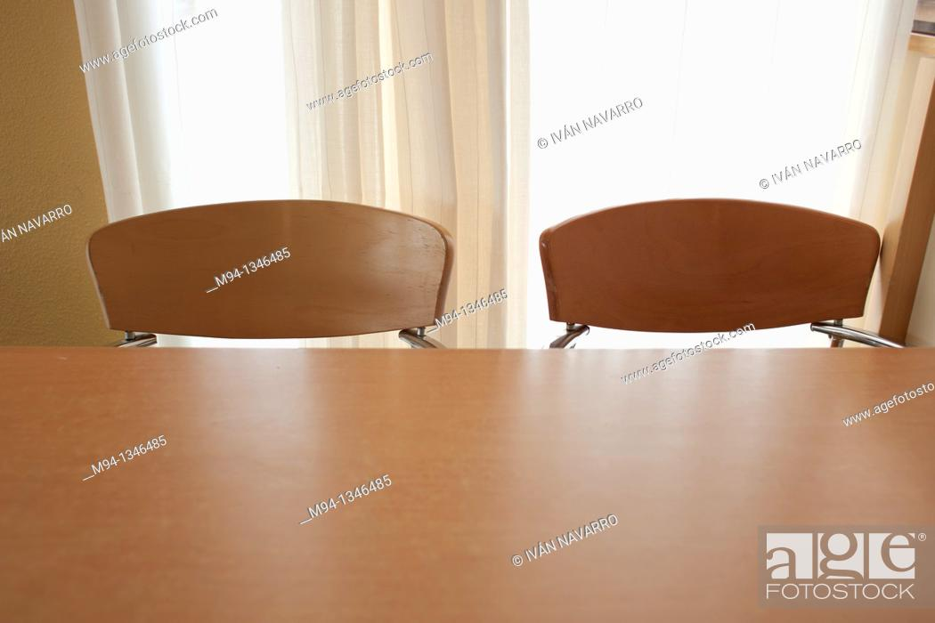 Stock Photo: empty chairs in a restaurant.
