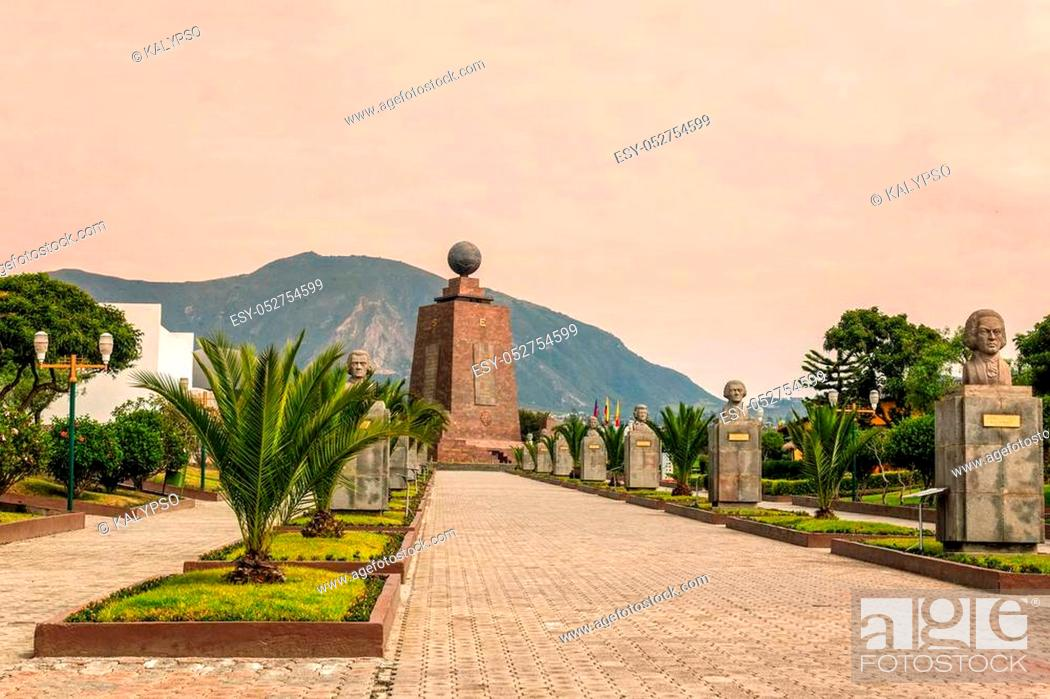 Stock Photo: Middle Of The World Monument, Mitad Del Mundo, One Of The Most Visited By Tourists Near Quito, Ecuador.