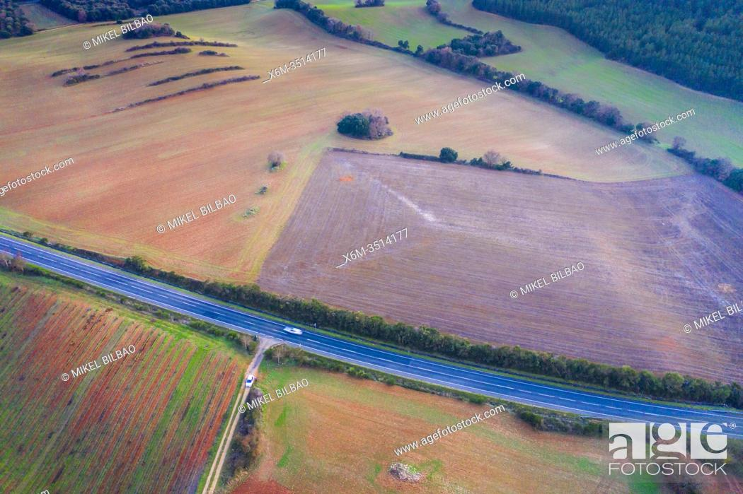 Stock Photo: Agricultural area. Aerial view. Ayegui area. Navarre, Spain, Europe.